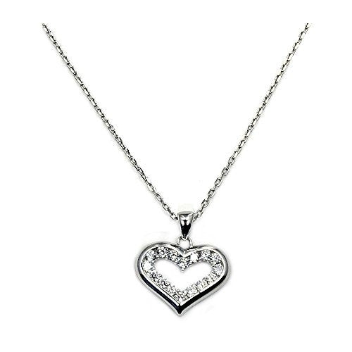 "'Love Spell' Sparkling Sterling Silver CZ Heart Pendant Necklace, 18"" - Emavera"
