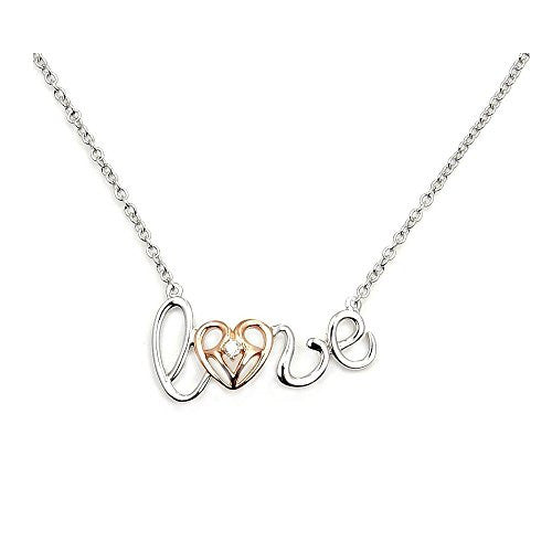 'Love You Forever' Sterling Silver, Rose Gold & CZ Heart Necklace - The Silver Plaza