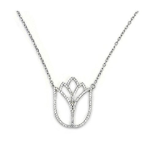 'Frozen Tulip' Sterling Silver Cubic Zirconia Necklace - The Silver Plaza