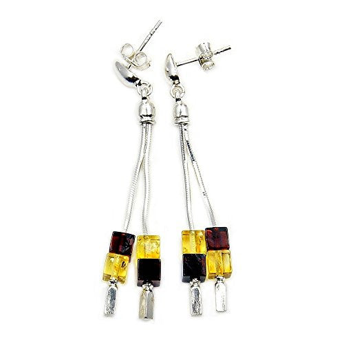Sterling Silver Natural Champagne and Cherry Baltic Amber Cubes Dangle Earrings - The Silver Plaza