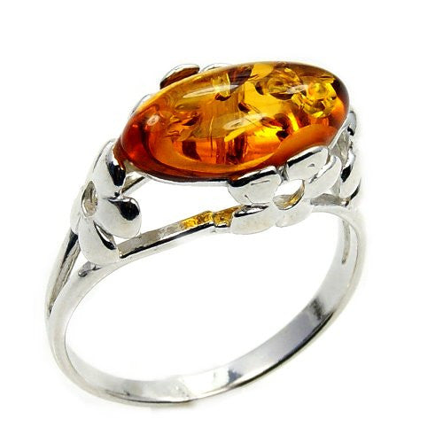 'Delicate Flower' Sterling Silver Baltic Amber Ring Size 7.25 - The Silver Plaza