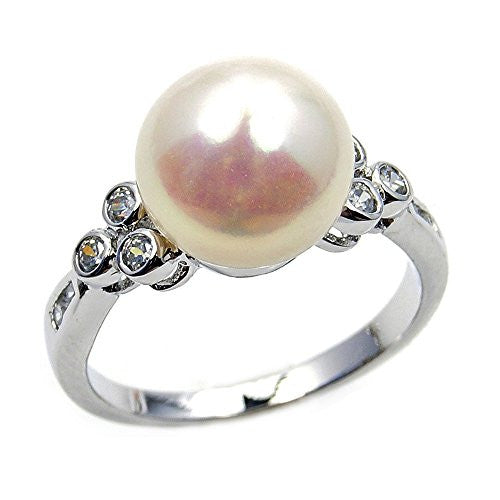Sterling Silver Simulated Pearl, CZ Bridal Ring, Size 5.75 - The Silver Plaza