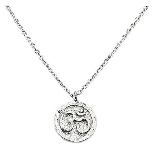 Solid Sterling Silver Om (Aum) Symbol Pendant Necklace - The Silver Plaza