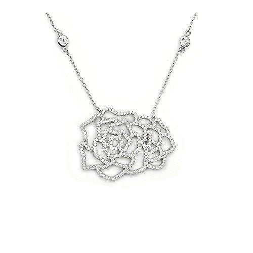 'Winter Rose' Sterling Silver Cubic Zirconia Necklace - The Silver Plaza