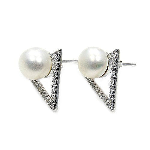 Trendy Triangle Sterling Silver Simulated Pearl, CZ Stud Earrings - The Silver Plaza