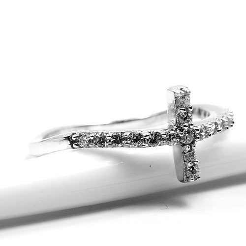 'Cross of Faith' Cubic Zirconia & Sterling Silver Wavy Design Ring Size 7.75 - Emavera
