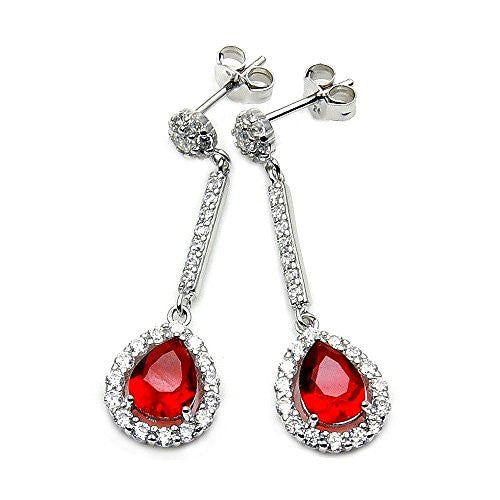 Sparkling Sterling Silver Red CZ Dangle Earrings - The Silver Plaza
