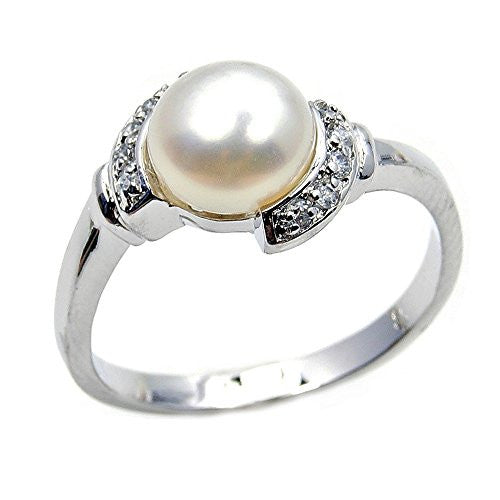 Bridal Sterling Silver Simulated Pearl, CZ Ring, Size 6.5 - Emavera