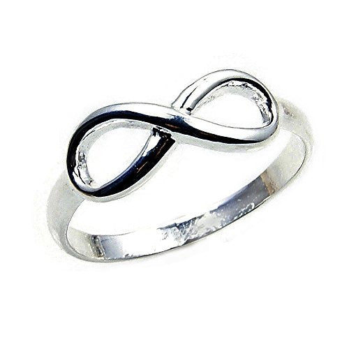 'Infinity' Solid Sterling Silver Band, Ring, Size 6.5 - The Silver Plaza