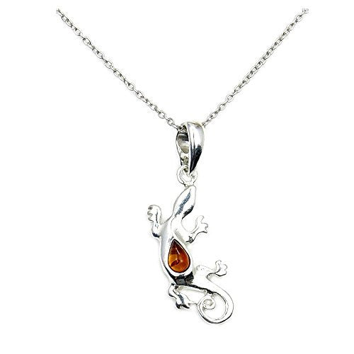 Sterling Silver Natural Baltic Amber Lizard Pendant Necklace - The Silver Plaza