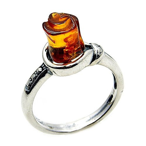 'Rose Bud' Sterling Silver Natural Baltic Amber Ring, Size 4.75 - The Silver Plaza