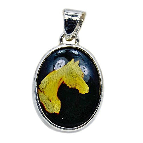 Tamed Mustang' Sterling Silver Natural Baltic Amber Horse Cameo Pendant - The Silver Plaza
