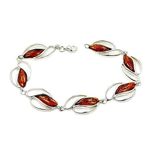"Charming Sterling Silver Natural Baltic Amber Bracelet, 7.75"" - The Silver Plaza"