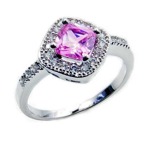 'Royal Princess' Sterling Silver Pink Cubic Zirconia Ring, Size 6.75 - The Silver Plaza