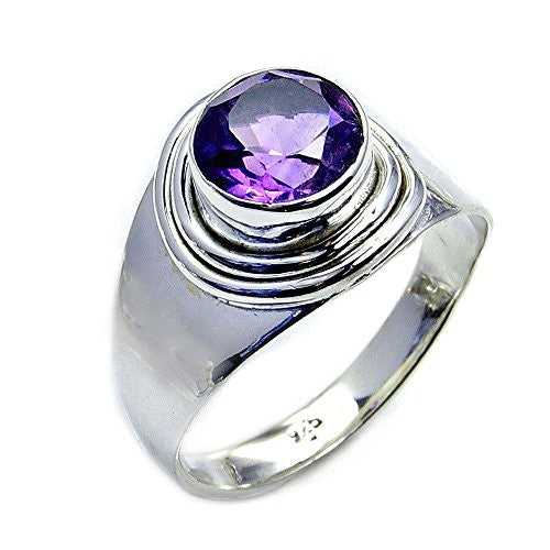 'Purple Sparkle' Sterling Silver Amethyst Ring, Size 5.75 - Emavera