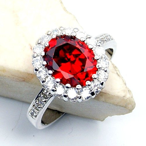 'Flames of Love' Sterling Silver Red Cubic Zirconia Ring Size 8.75 - The Silver Plaza