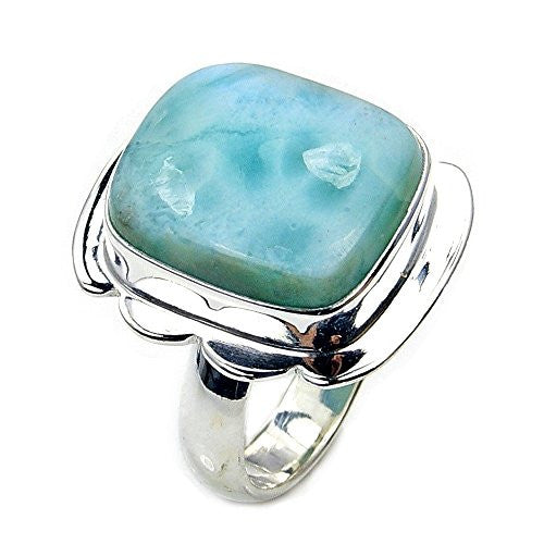 'Blue Beauty' Sterling Silver Rare Natural Dominican Larimar Ring, Size 5.5 - The Silver Plaza
