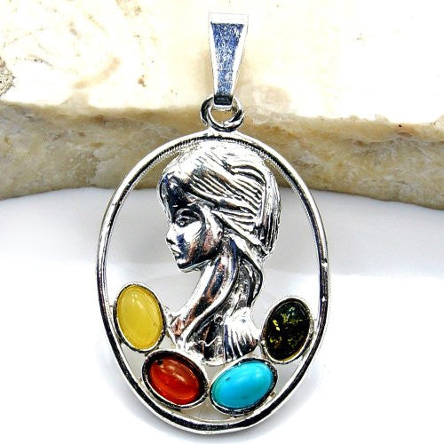 'Lady Amber' Sterling Silver Natural Multicolor Baltic Amber, Turquoise Cameo Pendant - The Silver Plaza