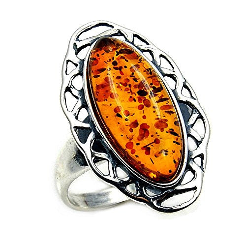 'Golden Glow' Sterling Silver Natural Baltic Amber Ring, Size 6.25 - The Silver Plaza