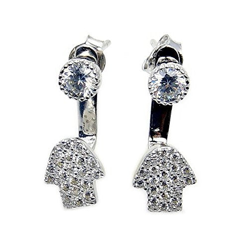 'Hamsa Hand' Sterling Silver Cubic Zirconia Stud Jacket Earrings - The Silver Plaza
