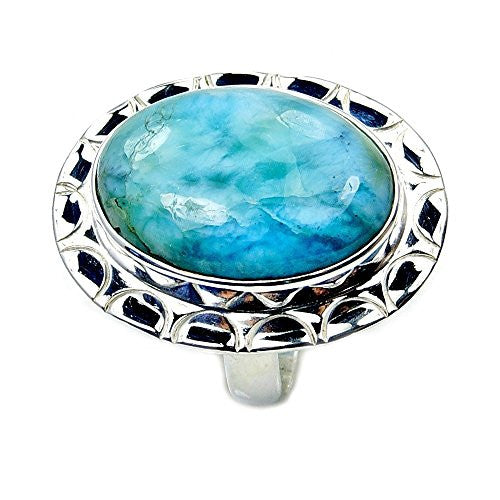 Amazing Sterling Silver Rare Genuine Dominican Larimar Ring, Size 6.75 - The Silver Plaza