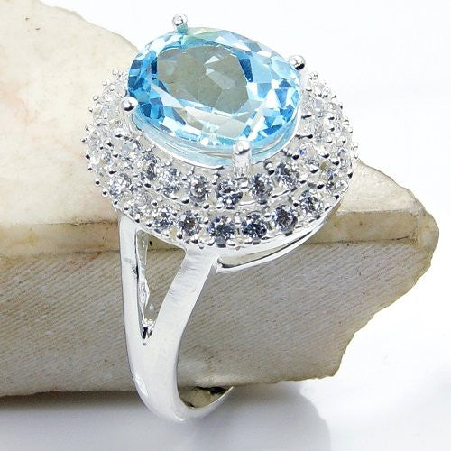 Sterling Silver Blue Topaz, Cubic Zirconia Ring, Size 7.25 - The Silver Plaza