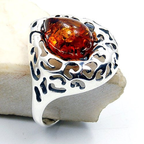 'Queen Bee' Sterling Silver Natural Baltic Amber Ring, Size 8.5 - The Silver Plaza