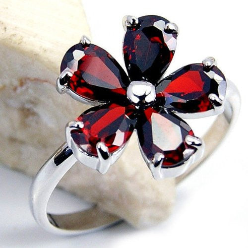 Spring Flowers' Red Cubic Zirconia & Sterling Silver Ring Size 7.75 - The Silver Plaza