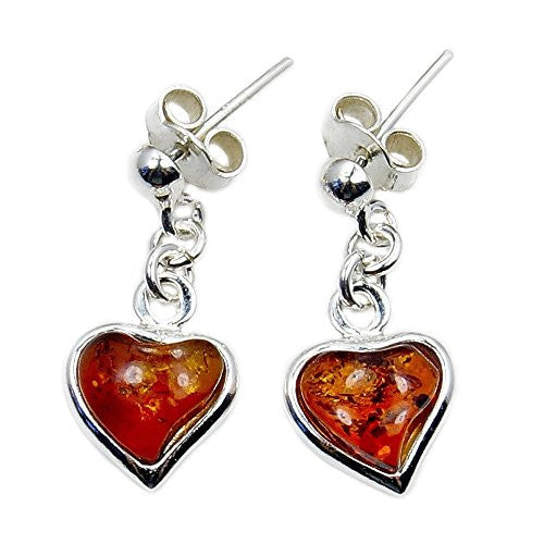 Sweet Love' Sterling Silver Natural Baltic Amber Heart Dangle Earrings - The Silver Plaza