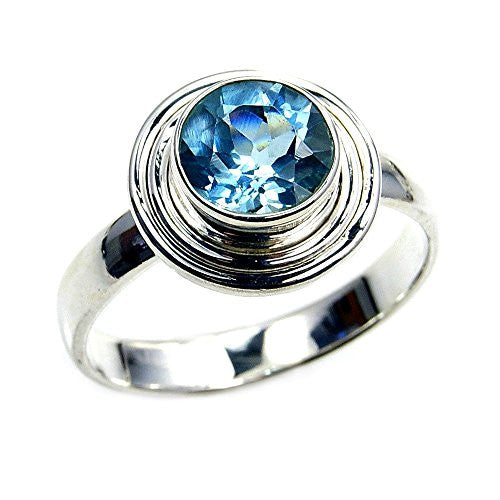 'Endless Ocean' Sterling Silver Round Blue Topaz Ring Size 8.75 - The Silver Plaza
