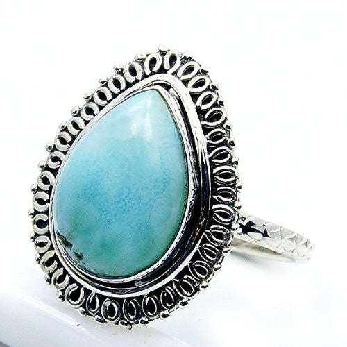 Sterling Silver Dominican Larimar Ring, Size 6 - The Silver Plaza