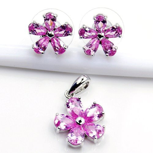 Sterling Silver 'Filigree Flower' Pink CZ Stud Earrings & Pendant Set - Emavera