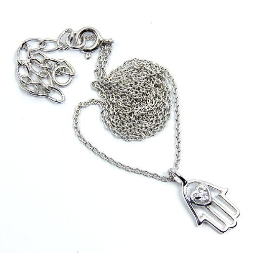 'Hamsa Protective Hand of God Fatima' Sterling Silver Cubic Zirconia Necklace - The Silver Plaza