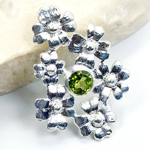 Filigree Flowers' Sterling Silver Peridot Pendant - The Silver Plaza