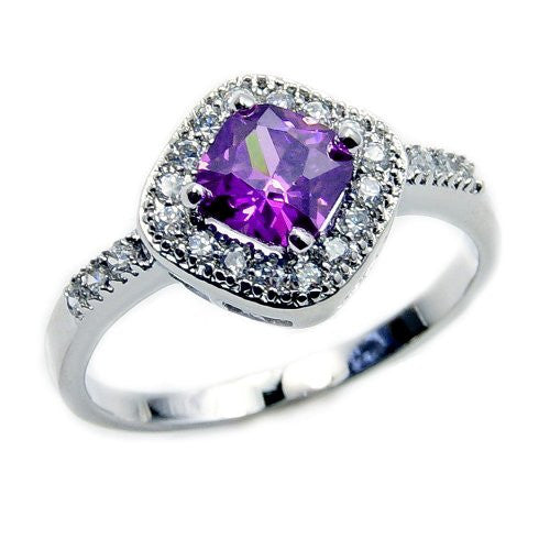 'Violet Dreams' Sterling Silver Purple Cubic Zirconia Ring, Size 5.75 - Emavera
