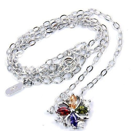 Sterling Silver Colorful Multigem CZ Necklace - The Silver Plaza