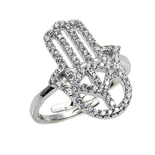 Sterling Silver Cubic Zirconia Hamsa Hand of God Fatima Ring, Size 7 Adjustable - The Silver Plaza