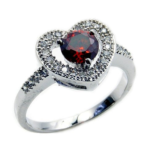 Sterling Silver Red Cubic Zirconia Heart Ring, Size 6.75 - The Silver Plaza