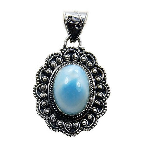 'Princess of the Sea' Sterling Silver Natural Dominican Larimar Pendant - The Silver Plaza
