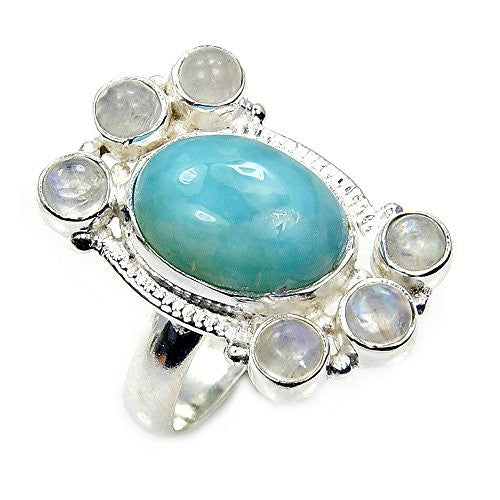 Fabulous Sterling Silver Natural Dominican Larimar, Moonstone Ring, Size 8 - Emavera