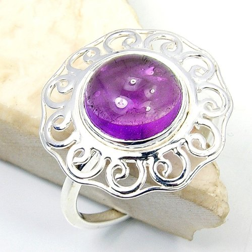 'Protection Stone' Sterling Silver Amethyst Ring Size 8.5