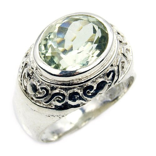 'Reflections' Sterling Silver Green Amethyst Ring, Size 7.75 - The Silver Plaza