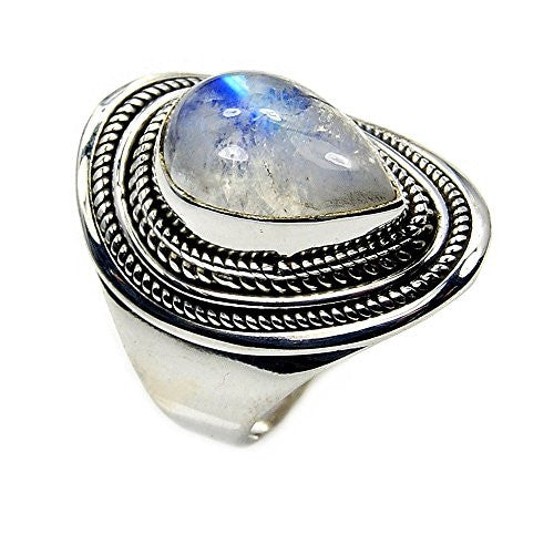 'Spellbound' Sterling Silver Moonstone Ring, Size 6.75 - The Silver Plaza