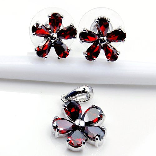 Sterling Silver 'Filigree Flower' Red CZ Stud Earrings & Pendant Set - Emavera