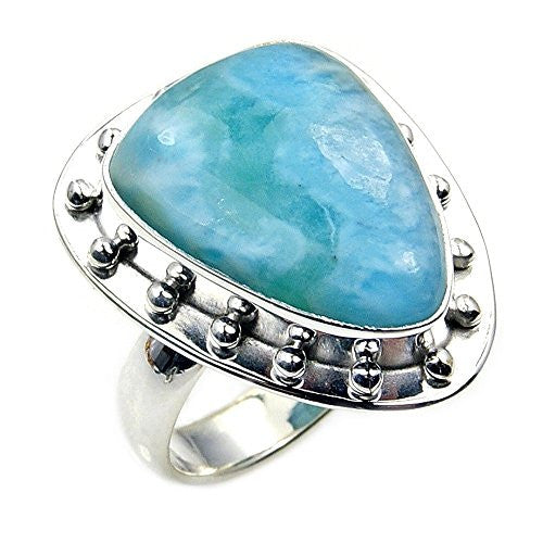 'Ocean Waves' Sterling Silver Rare Natural Dominican Larimar Ring, Size 5.75 - The Silver Plaza