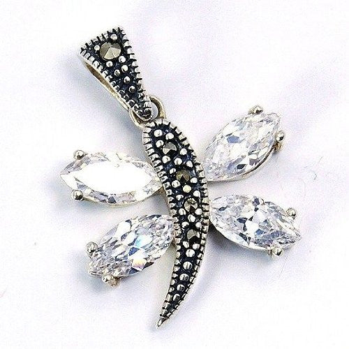 """Butterfly Beauty"" CZ, Marcasite & Sterling Silver Pendant - The Silver Plaza"