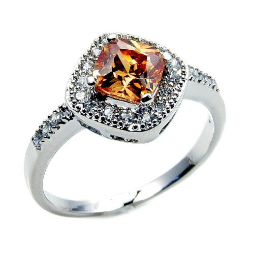 'Sweet Princess' Sterling Silver Honey Cubic Zirconia Ring, Size 5.75 - Emavera
