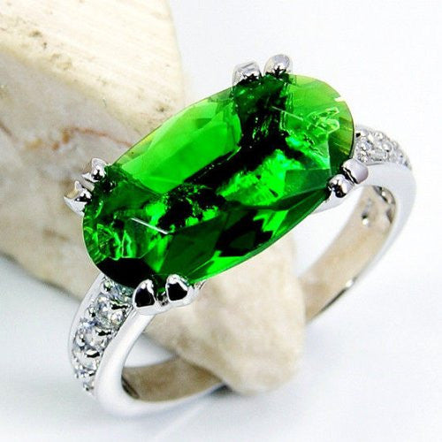 Glamorous Green Cubic Zirconia & Sterling Silver Ring, Size 6.75 - The Silver Plaza