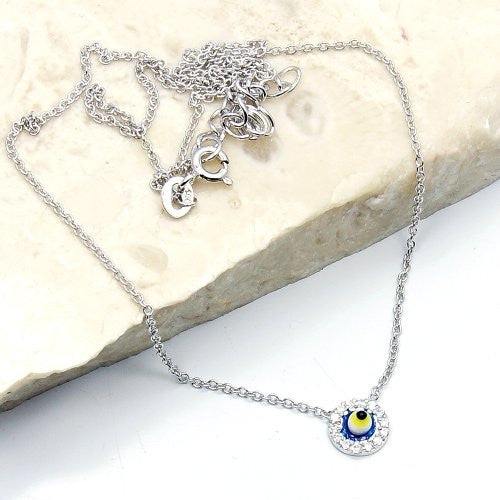 'Evil Eye' Sterling Silver Necklace - The Silver Plaza