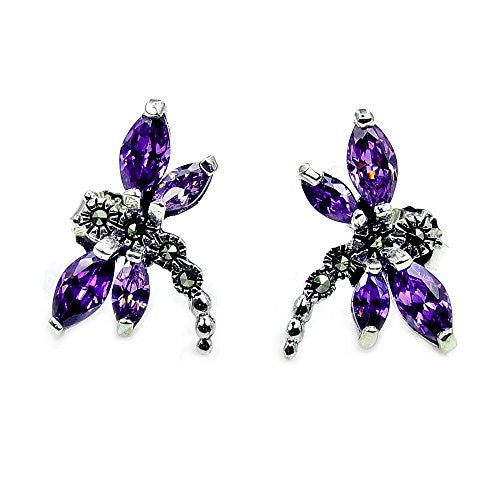 Sterling Silver Purple CZ & Marcasite Dragonfly Stud Earrings - The Silver Plaza